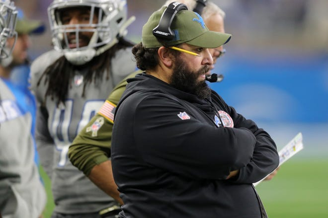 Detroit Lions head coach Matt Patricia watches from the sidelines during the second half against the Carolina Panthers on Sunday, November 18, 2018 at Ford Field.