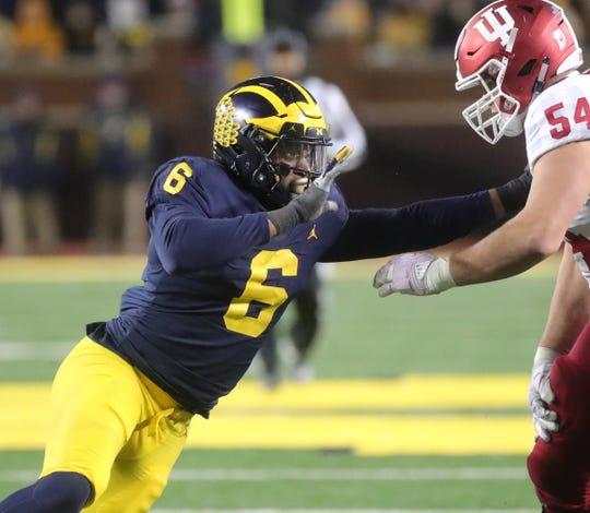 Michigan's Josh Uche rushes against Indiana's Coy Cronk during the second half Saturday, Nov. 17, 2018 at Michigan Stadium in Ann Arbor.