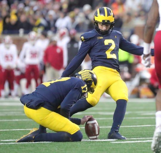Michigan's Jake Moody kicks a field goal against Indiana during the first half Saturday, Nov. 17, 2018 at Michigan Stadium in Ann Arbor.