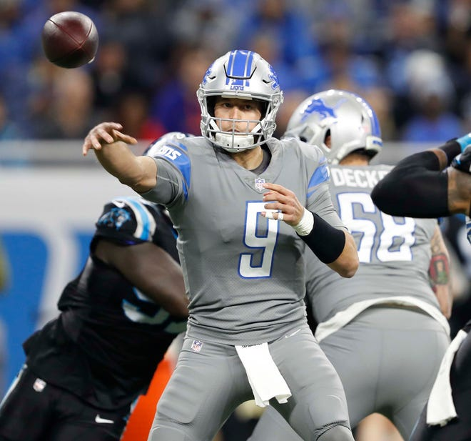 Lions quarterback Matthew Stafford passes the ball during the first quarter against the Carolina Panthers on Sunday, Nov. 18, 2018, at Ford Field.
