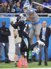 Kenny Golladay makes a catch against Panthers' James Bradberry on Nov. 18, 2018.