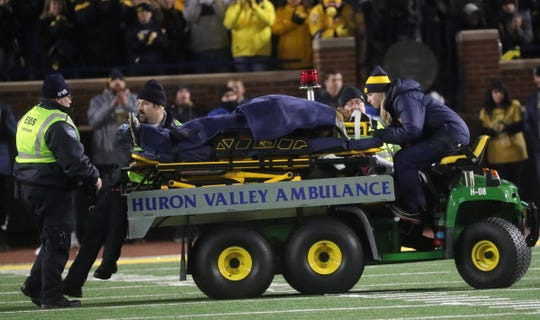 Michigan's Berkley Edwards is taken off the field on a stretcher after being injured in the fourth quarter against Indiana, Saturday, Nov. 17, 2018 at Michigan Stadium in Ann Arbor.
