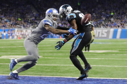 Darius Slay defends Panthers receiver Devin Fuchess in the second half.