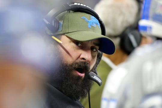 Detroit Lions head coach Matt Patricia on the sidelines during the first half on Sunday, November 18, 2018 at Ford Field.