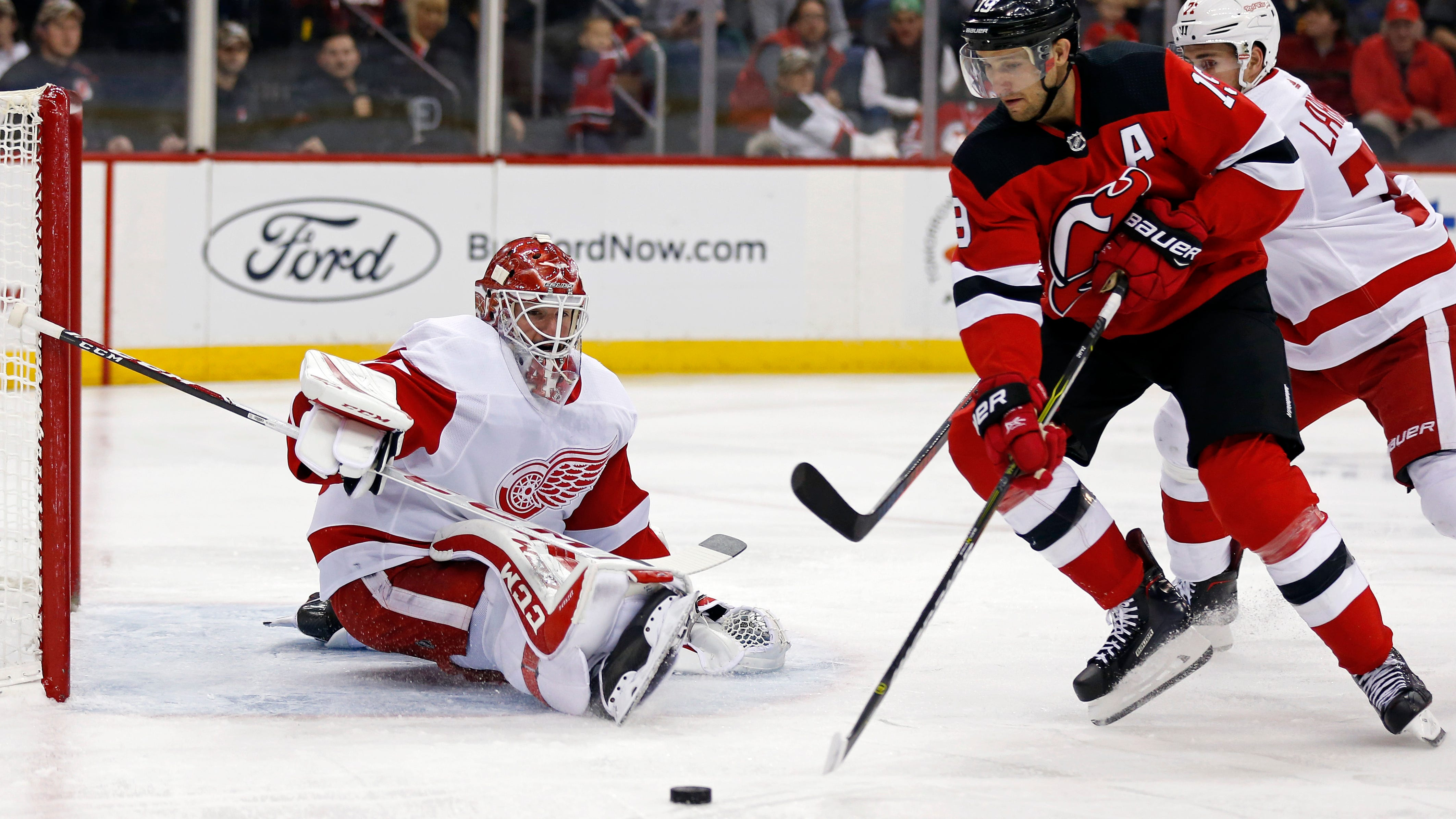 Detroit Red Wings goaltender Jonathan Bernier made 38 saves in Saturday's 3-2 overtime victory over the New Jersey Devils.