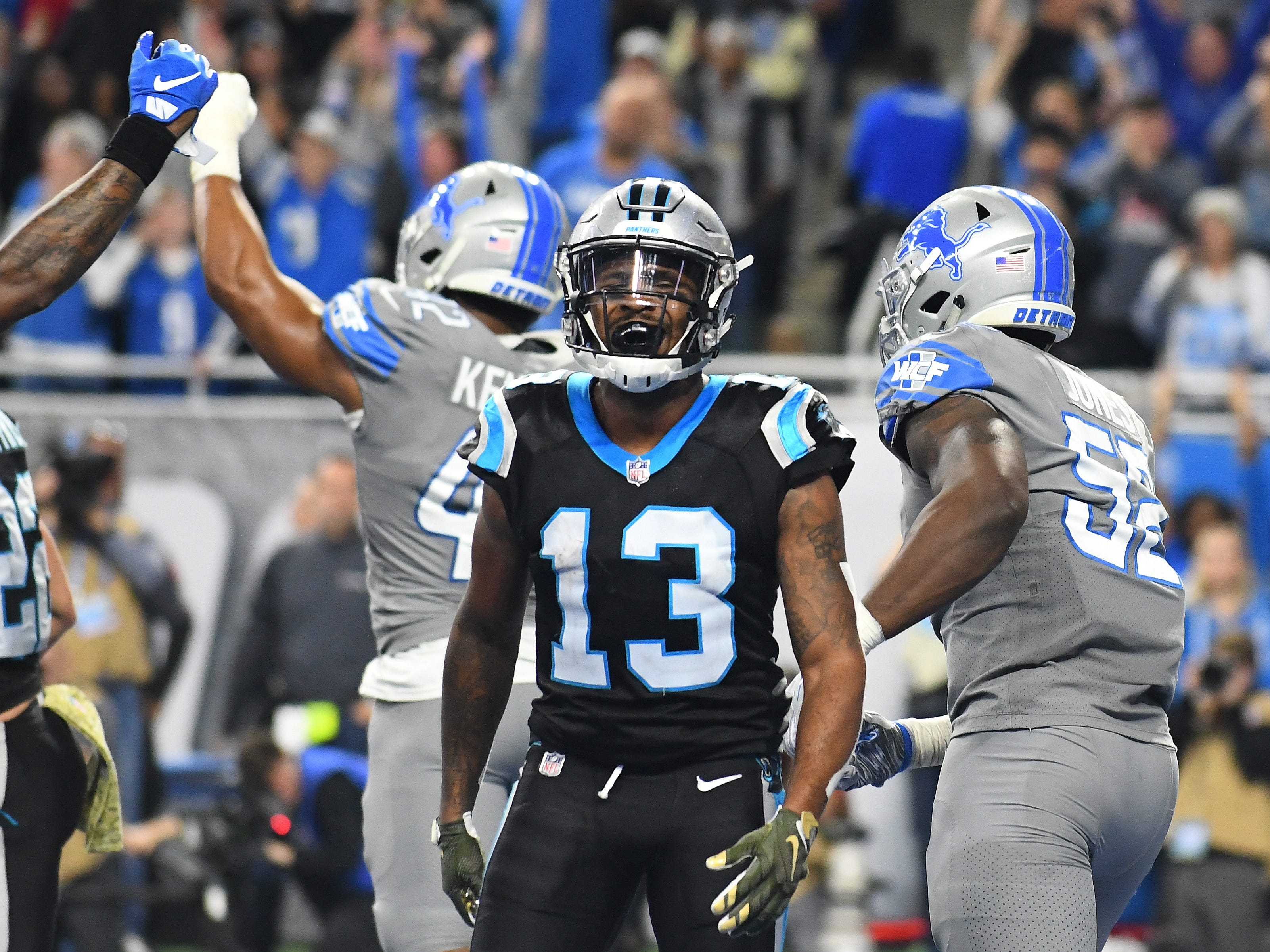 Panthers wide receiver Jarius Wright lets out a yell after not being able to pull down a high pass in the end zone on a two point conversion that would of put Carolina ahead with a minute to go in the fourth quarter.