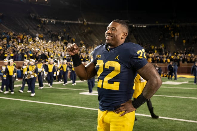 """""""Obviously, this is a game to get us into the Big Ten championship where we want to be,"""" Michigan's Karan Higdon says."""