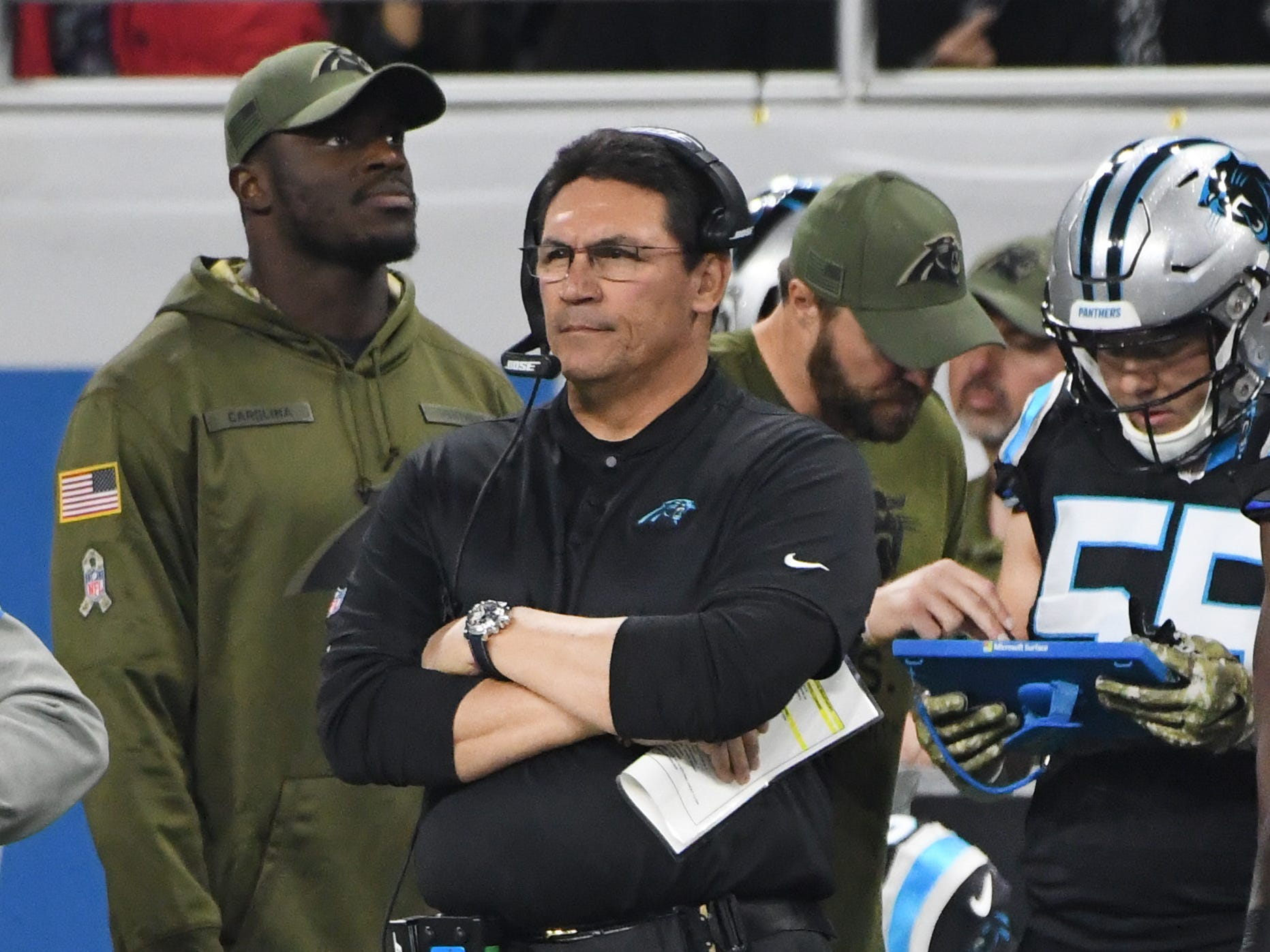 Panthers need coach Ron Rivera watches over his team in the first quarter.