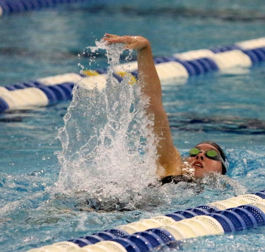 Sophia Verkleeren of Horseheads competes in the bonus race in the 200-yard IM at the New York State Girls Swimming and Diving Championships on Nov. 17, 2018 at Ithaca College.