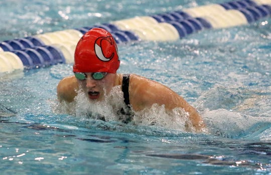 Lindsey Rice of Chenango Valley competees inthe 100-yard breaststroke bonus race at the New York State Girls Swimming and Diving Championships on Nov. 17, 2018 at Ithaca College.