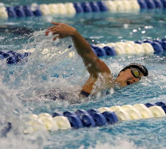 Elise Nishii-Kim of Ithaca swims in the 400-yard freestyle consolation finals during the New York State Girls Swimming and Diving Championships on Nov. 17, 2018 at Ithaca College.