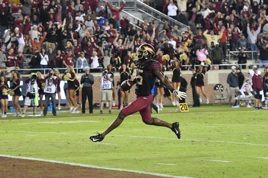 FSU redshirt freshman wide receiver Tamorrion Terry (15) scoring the game-winning touchdown in the fourth quarter of FSU's game against Boston College at Doak Campbell Stadium on November 17, 2018.