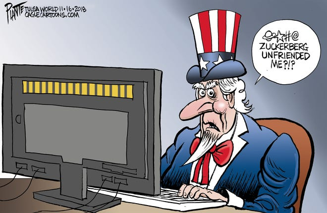 Bruce Plante Cartoon: Uncle Sam and Facebook, Facebook CEO and Chairman Mark Zuckerberg, Russian interference, Hacking, Russian troll farm, opinionhomepage1, Plante 20181118