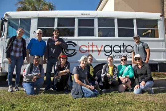 A band of hearty Homeless Challenge participants met Saturday at Citygate Ministries in downtown Fort Myers to see what it's like to walk in a homeless person's shoes. From left to right: (back row) Sasha Villalobos, Michael Collins, Jeff Meyers, Raymond Ballinger, (front row) Sasha Ammersingh, Kerrie Meyers, Lee County Homeless Coalition director Janet Bartos, April Borden, Ashley Williams and Krista and Gladys Callahan.