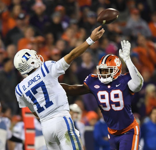 Clemson defensive lineman Clelin Ferrell (99) pressures Duke quarterback Daniel Jones (17) during the 1st quarter Saturday, November 17, 2018 at Clemson's Memorial Stadium.