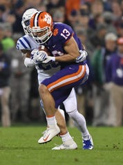 Clemson wide receiver Hunter Renfrow (13) makes a reception against Duke during the 1st quarter Saturday, November 17, 2018 at Clemson's Memorial Stadium.