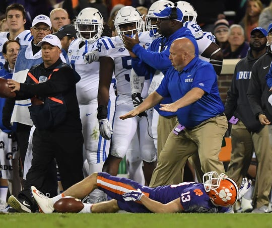 Clemson wide receiver Hunter Renfrow (13) lays on the ground after being injured while playing Duke during the 2nd quarter Saturday, November 17, 2018 at Clemson's Memorial Stadium.