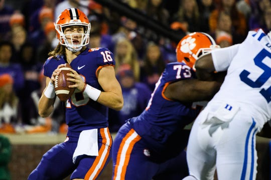 Clemson quarterback Trevor Lawrence (16) searches for an open teammate during Saturday's game against Duke at Memorial Stadium on Nov. 17, 2018.