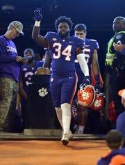Clemson senior linebacker Kendall Joseph (34) is honored during pregame of Clemson's game against Duke Saturday, November 17, 2018 at Clemson's Memorial Stadium.