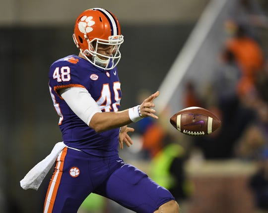 Clemson punter Will Spiers (48) punts against Duke during the 2nd quarter Saturday, November 17, 2018 at Clemson's Memorial Stadium.