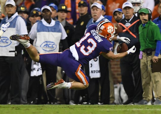 Clemson wide receiver Hunter Renfrow (13) tries to pull in a reception against Duke during the 2nd quarter Saturday, November 17, 2018 at Clemson's Memorial Stadium. Renfrow was injured on the play.