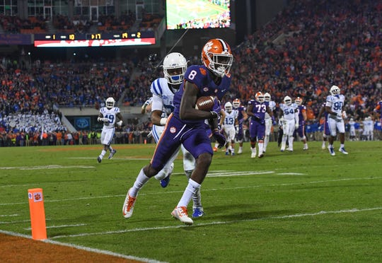Clemson wide receiver Justyn Ross (8) scores against Duke during the 2nd quarter Saturday, November 17, 2018 at Clemson's Memorial Stadium.