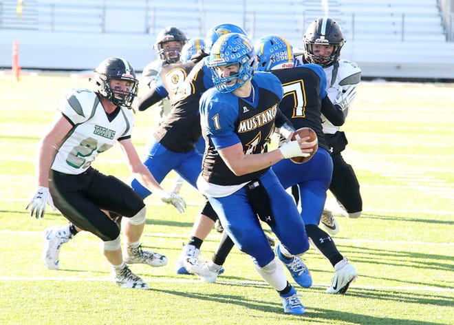 Noah Ambuehl and the Great Falls Central Mustangs played for the Class C Eight-Man state championship last November against Flint Creek.