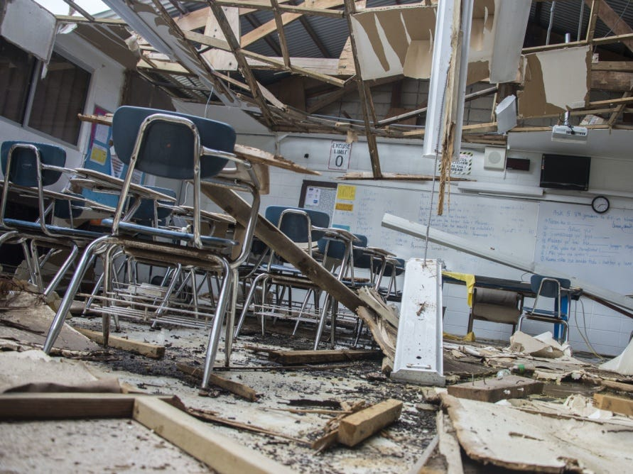 Hopwood Elem: The Hopwood Middle School in the village of Afetna, Saipan suffered major damage after Super Typhoon Yutu made landfall on October 24, 2018. The school is temporarily closed as the village works together with the Commonwealth, voluntary organizations, and federal agencies to cleanup and restore the classrooms.