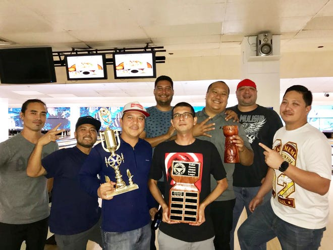 The team of '96, '97, 2002 and 2004 too home the FD Alumni Bowling League championship at Central Lanes. Pictured from left are: Joey Stadler, 96; Tristan Rebebal, 96; Joey Atalig, 96; Chuck Baker, 96; Nate Dogg Cruz, 02; Bert Manibusan, 04; Jason Camacho, 97; and Shaun Perez, 02.