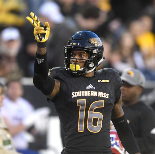 Southern Miss wide receiver Quez Watkins catches the ball for a first down in a game against Louisiana Tech at M.M. Roberts Stadium on Saturday, November 17, 2018.
