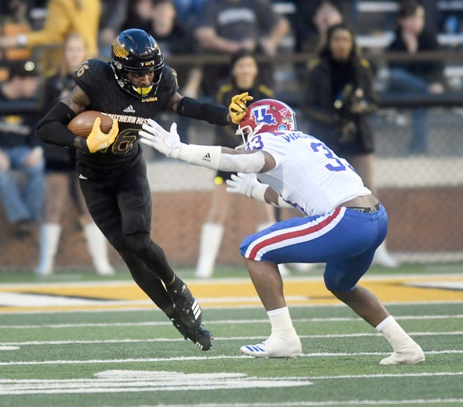 Southern Miss wide receiver Quez Watkins catches the ball past a defender in a game against Louisiana Tech at M.M. Roberts Stadium on Saturday, November 17, 2018.