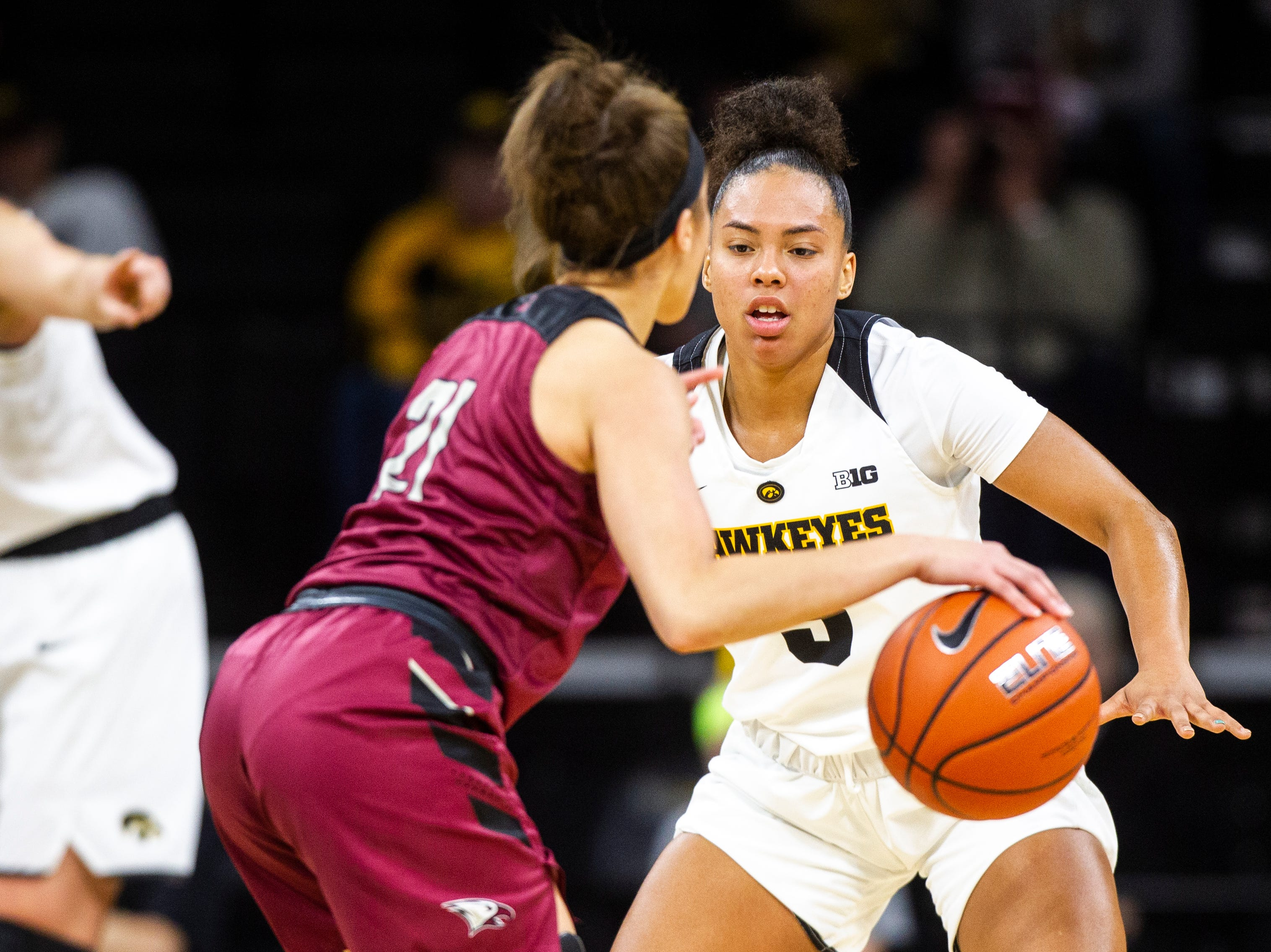 Iowa guard Alexis Sevillian (5) defends North Carolina Central's Jasmine Pollock (21) during an NCAA women's basketball game on Saturday, Nov. 17, 2018, at Carver-Hawkeye Arena in Iowa City.