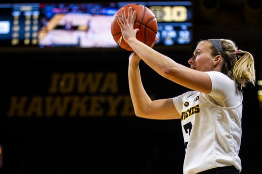 Iowa guard Makenzie Meyer (3) shoots a 3-point basket during an NCAA women's basketball game on Saturday, Nov. 17, 2018, at Carver-Hawkeye Arena in Iowa City.