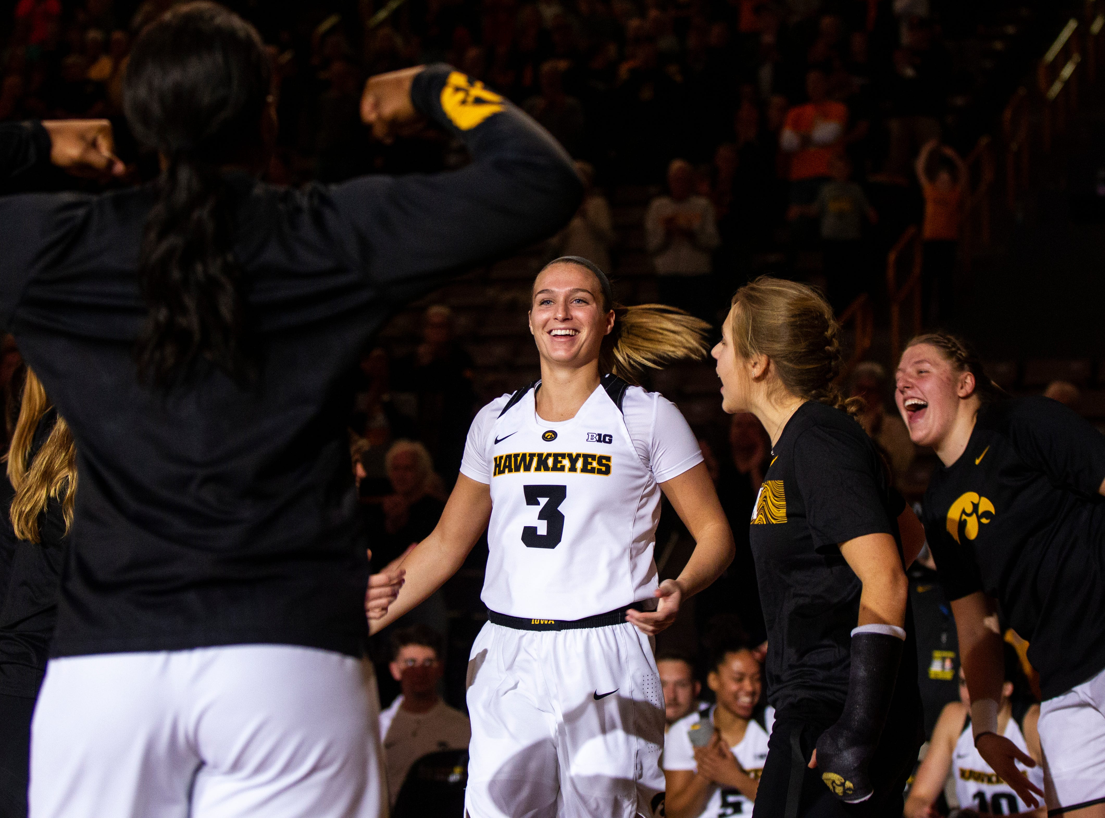 Iowa guard Makenzie Meyer (3) is introduced before an NCAA women's basketball game on Saturday, Nov. 17, 2018, at Carver-Hawkeye Arena in Iowa City.