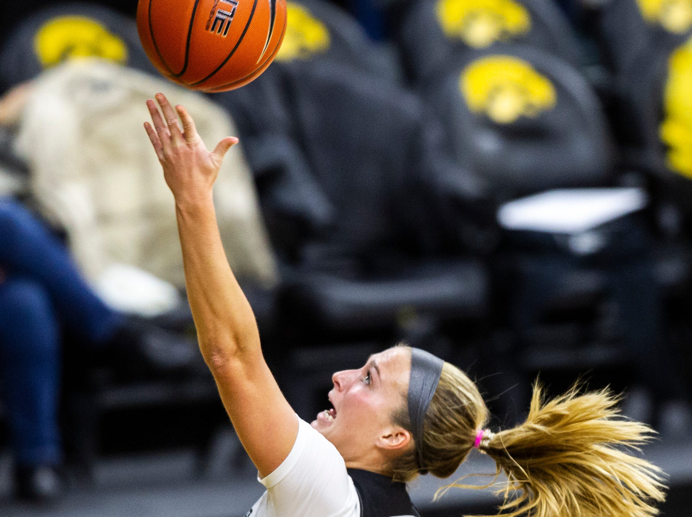 Iowa guard Makenzie Meyer (3) attempts a layup during an NCAA women's basketball game on Saturday, Nov. 17, 2018, at Carver-Hawkeye Arena in Iowa City.