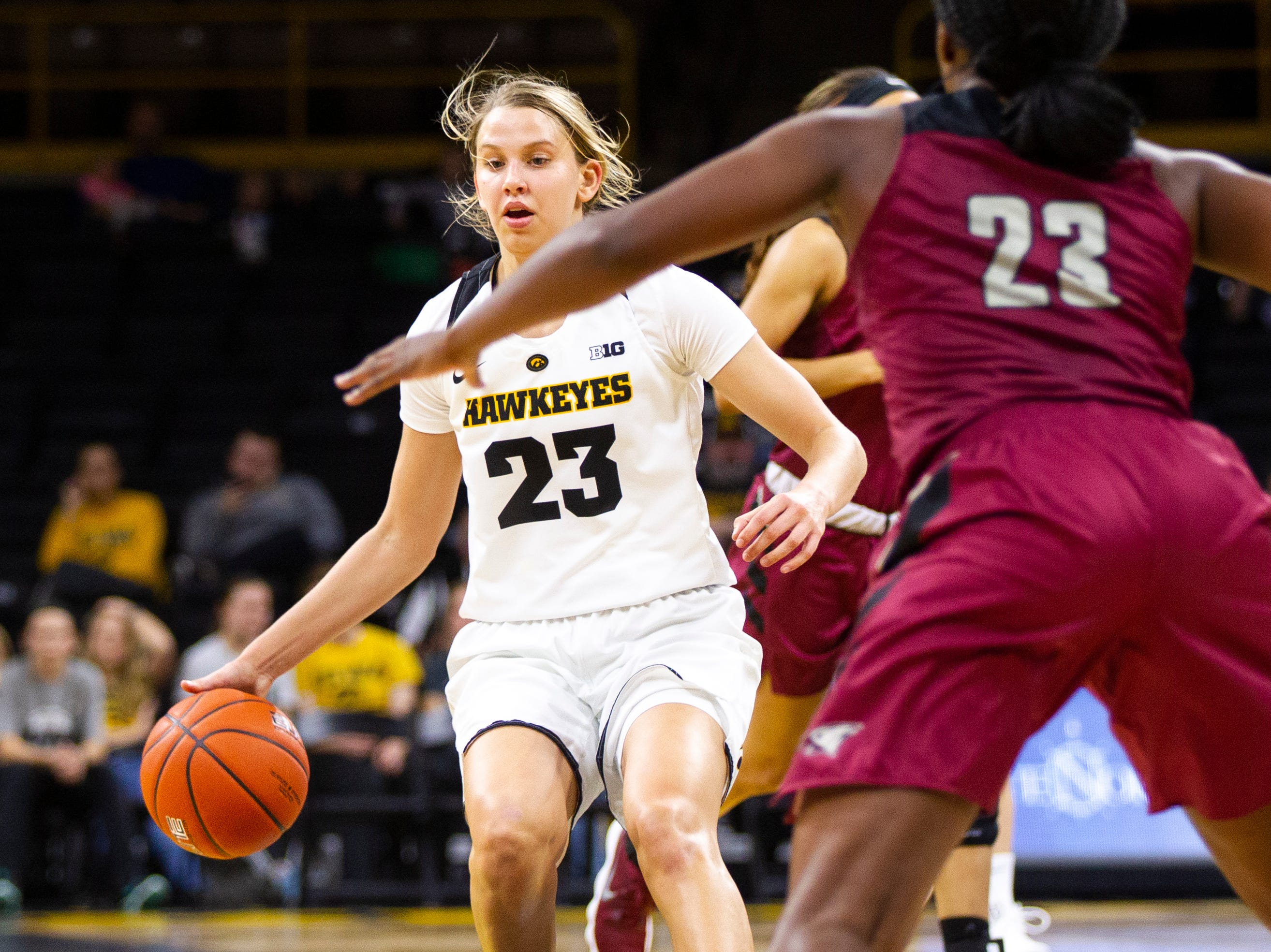 Iowa forward Logan Cook (23) looks to pass during an NCAA women's basketball game on Saturday, Nov. 17, 2018, at Carver-Hawkeye Arena in Iowa City.