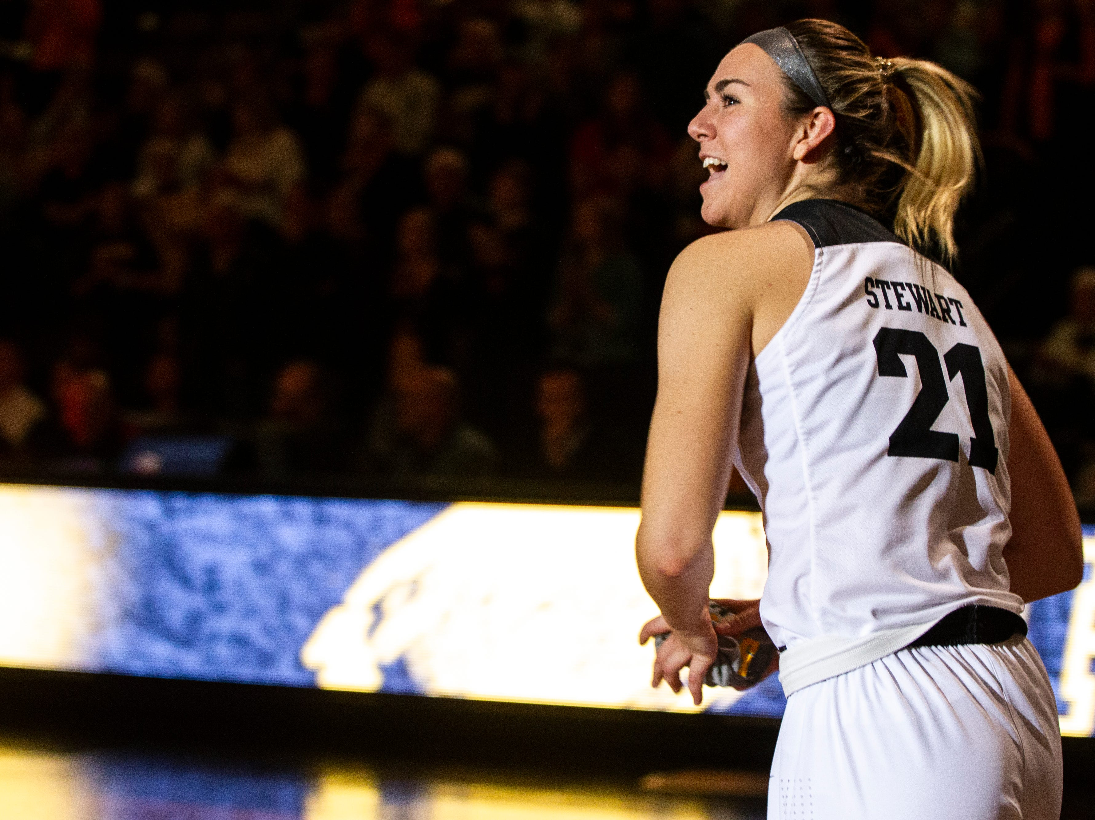 Iowa forward Hannah Stewart (21) is introduced during an NCAA women's basketball game on Saturday, Nov. 17, 2018, at Carver-Hawkeye Arena in Iowa City.