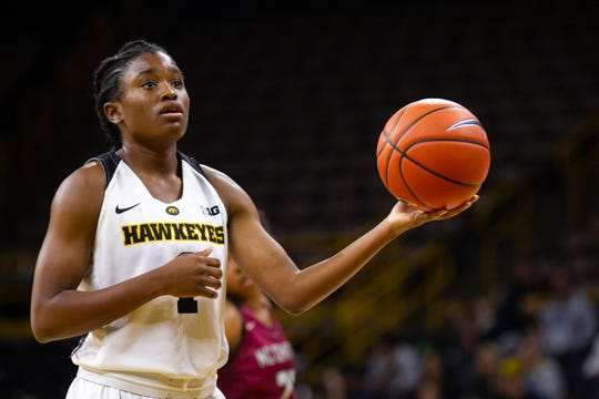 Iowa guard Tomi Taiwo (1) gets ready to shoot a free throw during an NCAA women's basketball game on Saturday, Nov. 17, 2018, at Carver-Hawkeye Arena in Iowa City.