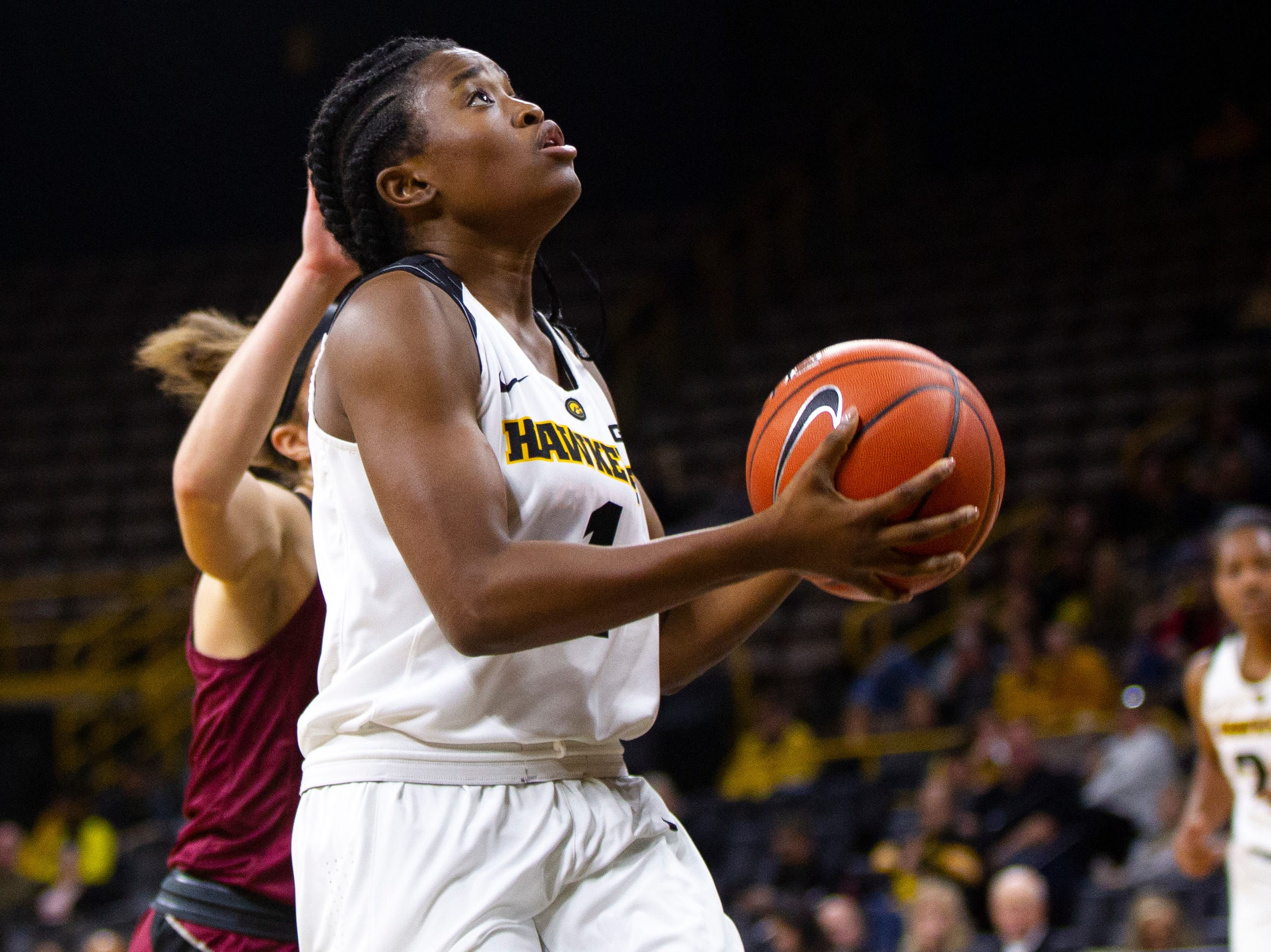Iowa guard Tomi Taiwo (1) attempts a shot during an NCAA women's basketball game on Saturday, Nov. 17, 2018, at Carver-Hawkeye Arena in Iowa City.