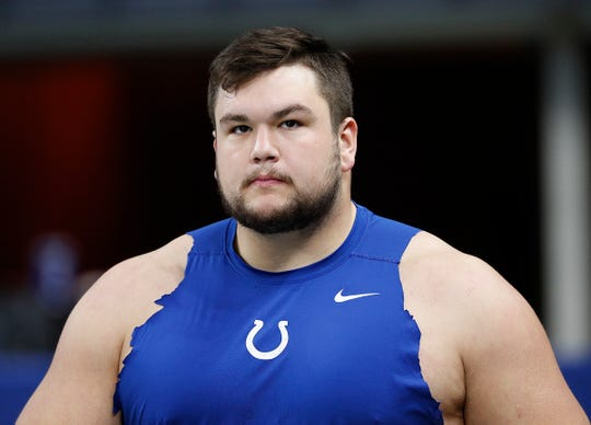 Indianapolis Colts offensive guard Quenton Nelson (56) before the start of their game against the Tennessee Titans at Lucas Oil Stadium on Sunday, Nov. 18, 2018.