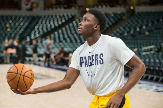 Nov 17, 2018; Indianapolis, IN, USA; Indiana Pacers guard Victor Oladipo (4) shoots the ball during warm ups before the game against the Atlanta Hawks at Bankers Life Fieldhouse. Mandatory Credit: Trevor Ruszkowski-USA TODAY Sports