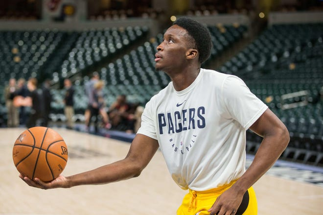 Victor Oladipo only played five minutes before leaving a Nov. 17 game with the Atlanta Hawks and hasn't played since. Here he was shooting during warmups before that game.
