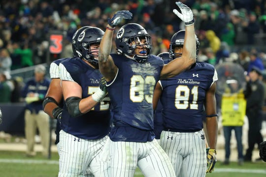 Known for egging on opponents, Chase Claypool played to the crowd after he made a touchdown catch against the Syracuse Orange at Yankee Stadium.