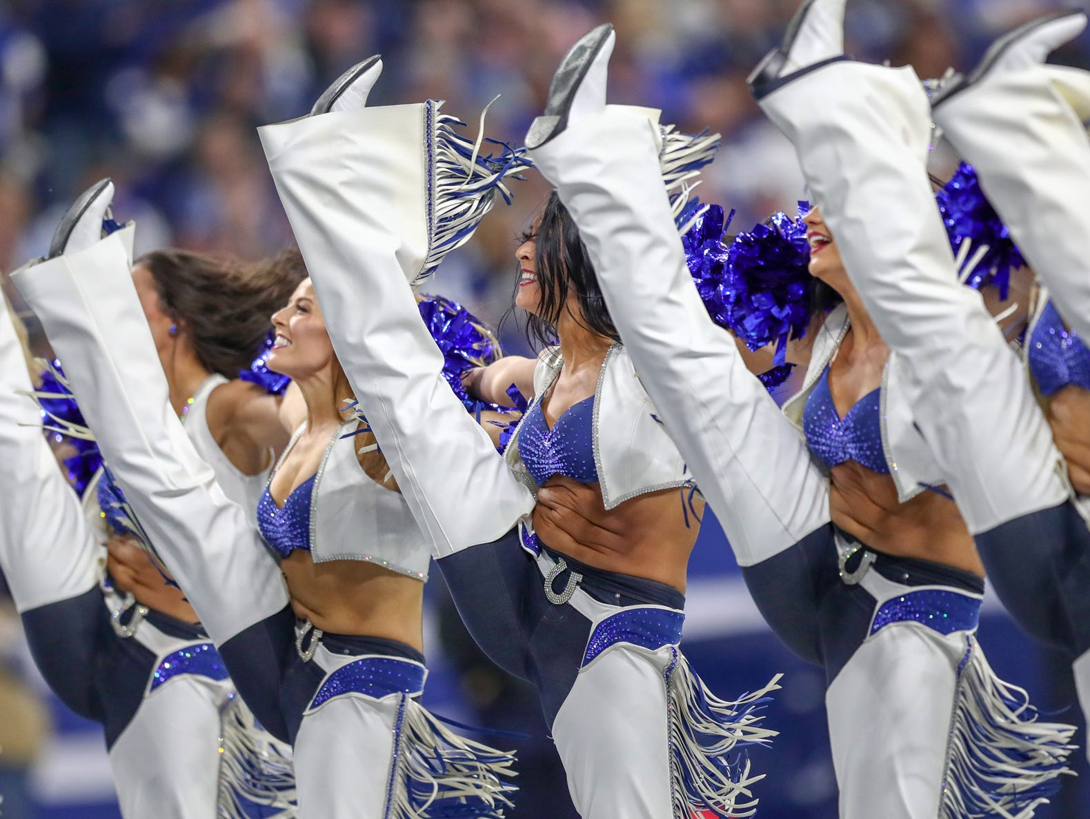 The Indianapolis Colts cheer during the game against the Tennessee Titans at Lucas Oil Stadium in Indianapolis, on Sunday, Nov. 18, 2018.