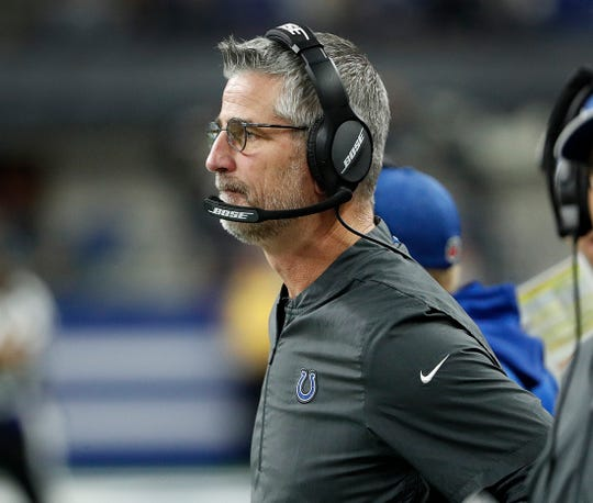 Indianapolis Colts head coach Frank Reich in the second half of the game at Lucas Oil Stadium on Sunday, Nov. 18, 2018. The Colts defeated the Titans 38-10.