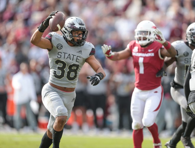 Mississippi State safety Johnathan Abram (38) won the SEC co-Defensive Player of the Week on Monday after his stat-stuffing performance in the Bulldogs' 52-6 Saturday victory over Arkansas in Starkville,