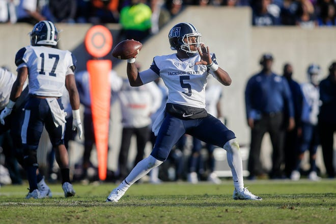 JSU quarterback Jarrad Hayes passes during the first quarter of the Tigers' 24-3 loss at rival Alcorn State on Saturday.