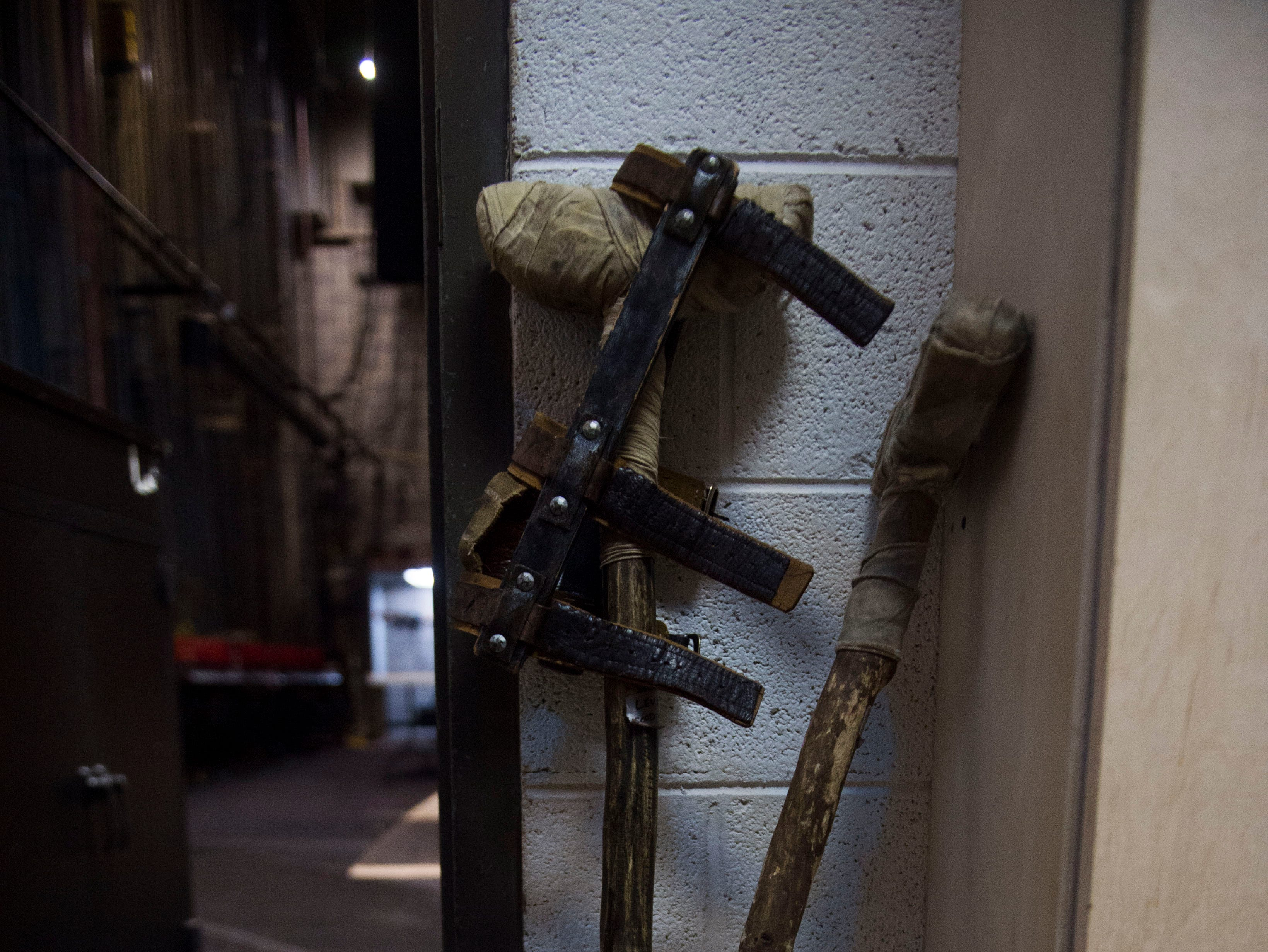 "Tiny Tim's crutches lean in a corner for Clarence Brown Theatre's annual production of ""A Christmas Carol"", at University of Tennessee Tuesday, Nov. 11, 2018."