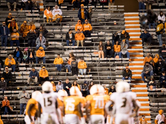 Tennessee fans watch the game against Missouri on Nov. 17 at Neyland Stadium. Announced attendance was 88,224. Actual attendance was 70,840, records show. Much of the crowd filed out during the second half of a game Missouri won 50-17.