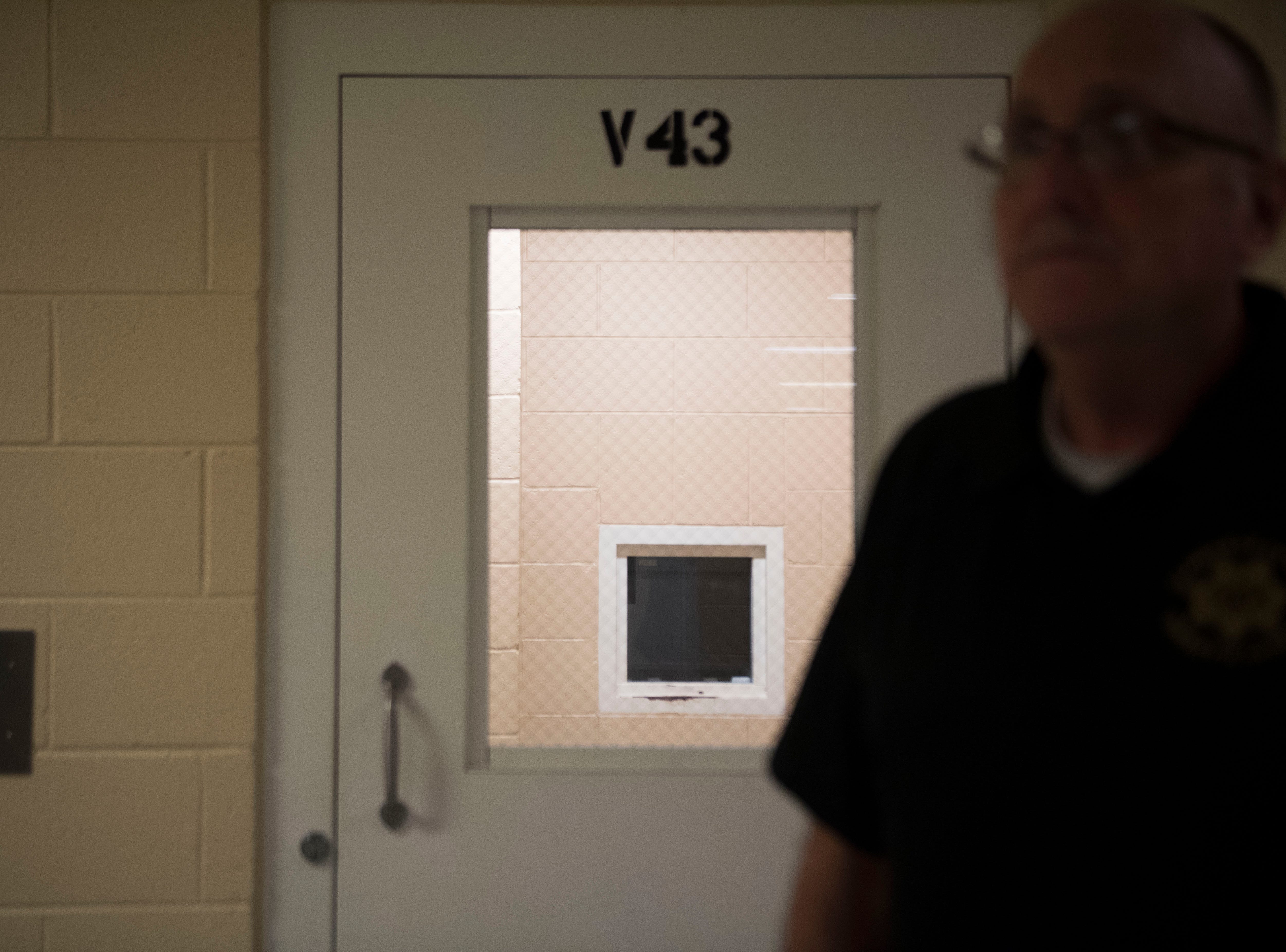Claiborne County Chief Jail Administrator Steve Ellis stands outside in area for inmate video visitation area is set up for inmates at Claiborne County Jail in Claiborne County, Wednesday, Oct. 24, 2018.